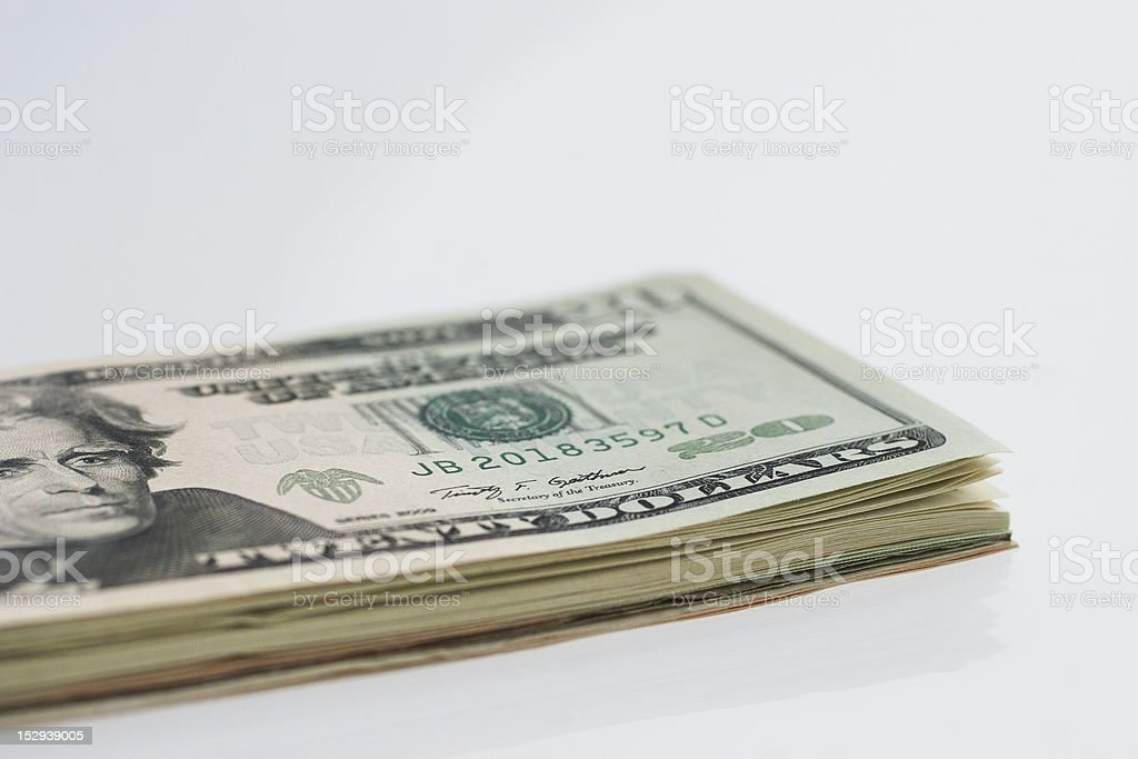 Close-up stack of american twenty dollar notes royalty-free stock photo