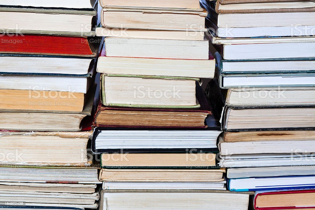 Closeup stack of secondhand books royalty-free stock photo
