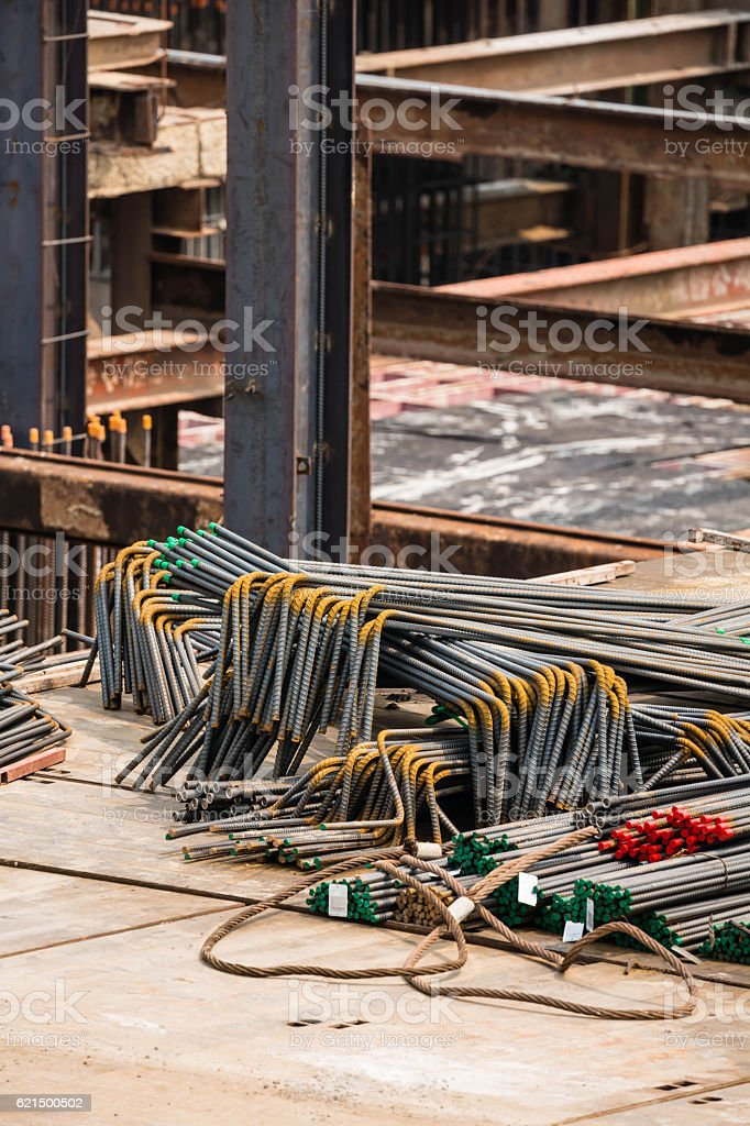 closeup steel bar for use in construction site foto stock royalty-free