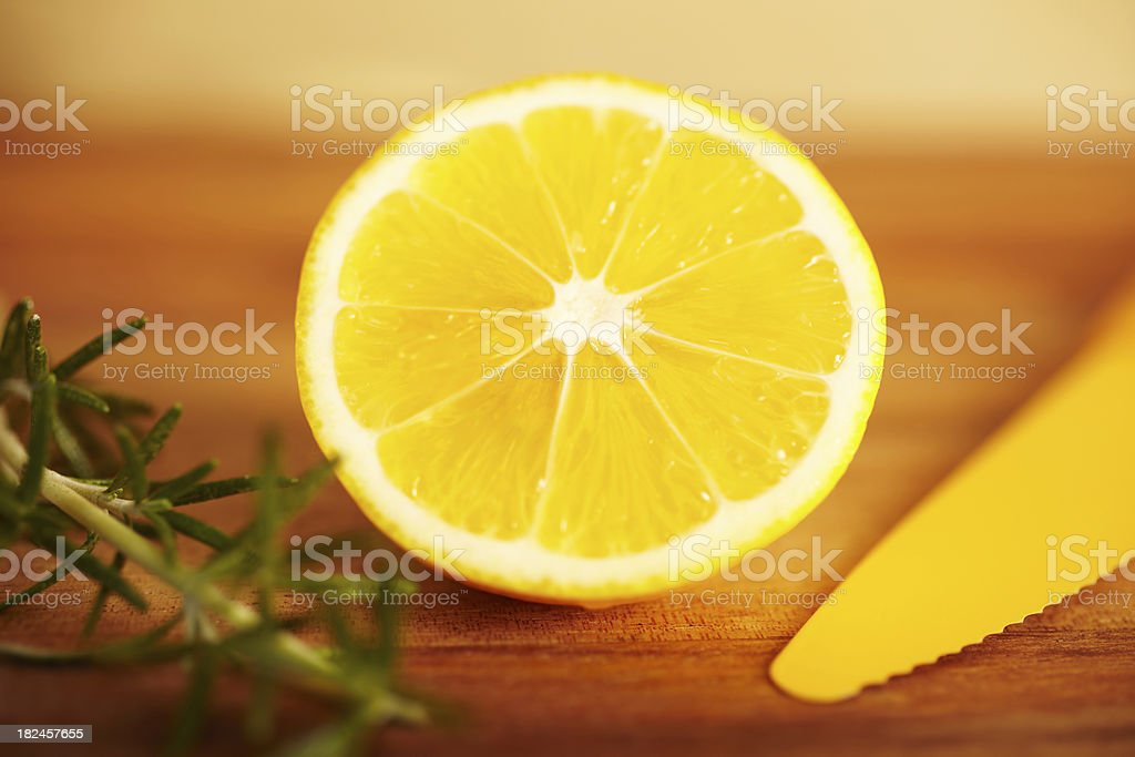 Close-up still life of a meyer lemon royalty-free stock photo