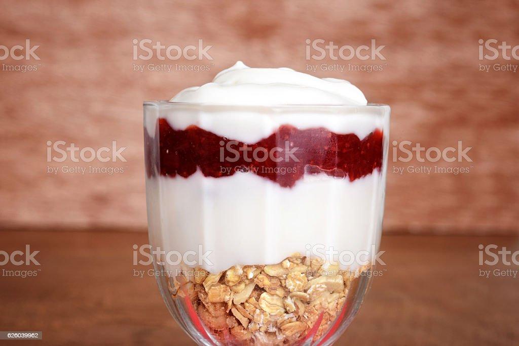 closeup strawberry vanilla parfait stock photo