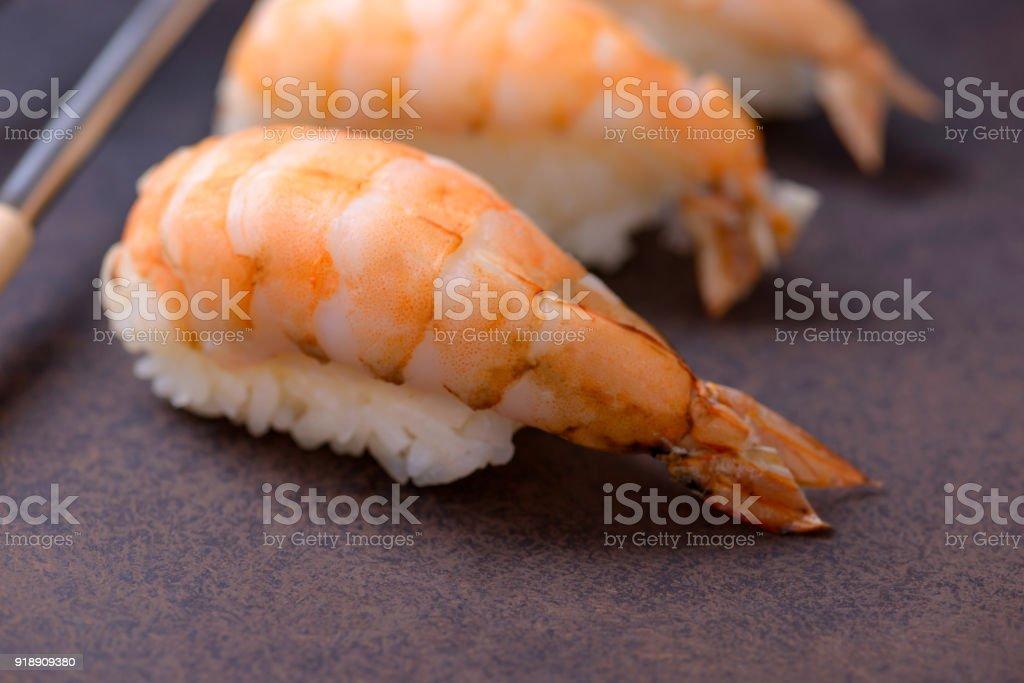 Close-up sushi with shrimp stock photo