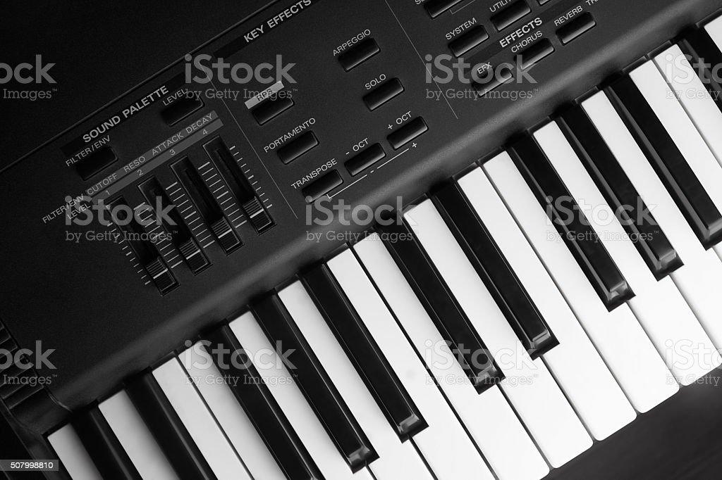 Closeup synthesizer stock photo