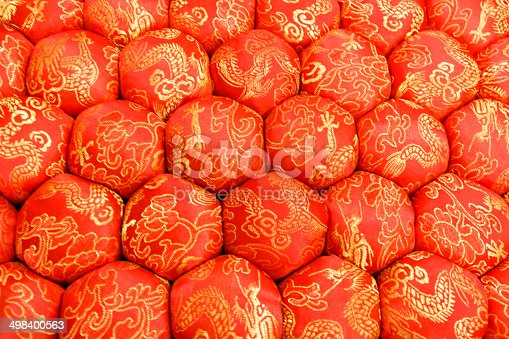 532522827 istock photo Closeup Texture of Decorative Meditation Pillow Seat in Chinese Style 498400563
