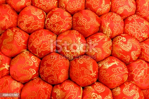 532522827 istock photo Closeup Texture of Decorative Meditation Pillow Seat in Chinese Style 498401387