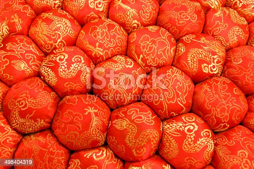 532522827 istock photo Closeup Texture of Decorative Meditation Pillow Seat in Chinese Style 498404319