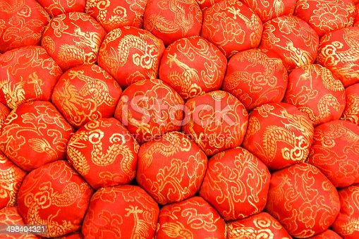532522827 istock photo Closeup Texture of Decorative Meditation Pillow Seat in Chinese Style 498404321