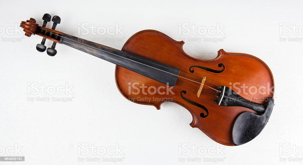 Closeup the wooden violin put on white background.Old and age for long time use.broken,color not smooth,two string broken, royalty-free stock photo