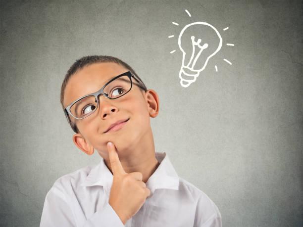 Closeup thinking child stock photo