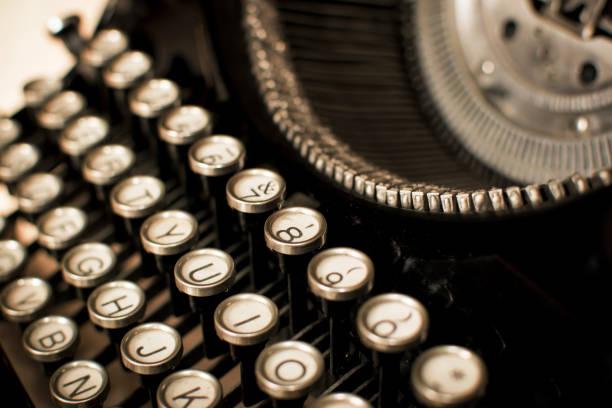 Closeup to an old typewriter stock photo