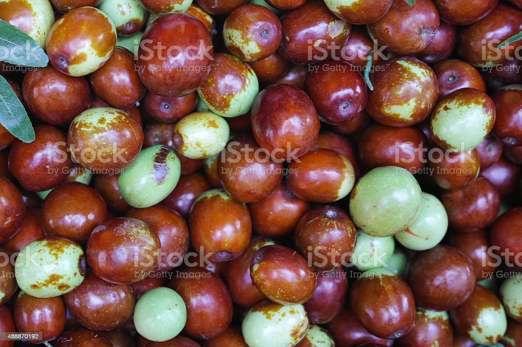 Close-Up To Group Of Fruit Of Jujube Tree In Bazaar stock photo
