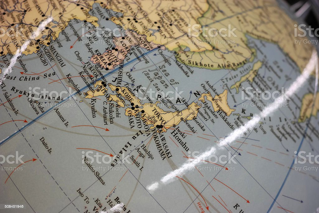 Closeup To Japan On World Map Far East stock photo | iStock