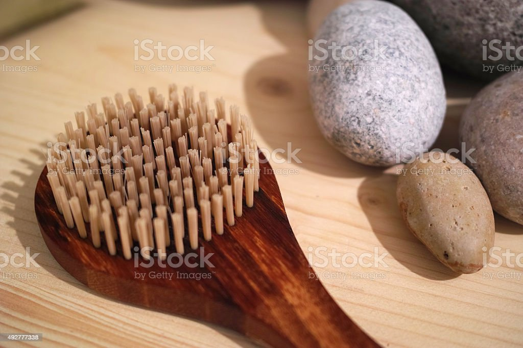Close-Up To Spa Stones Brush stock photo