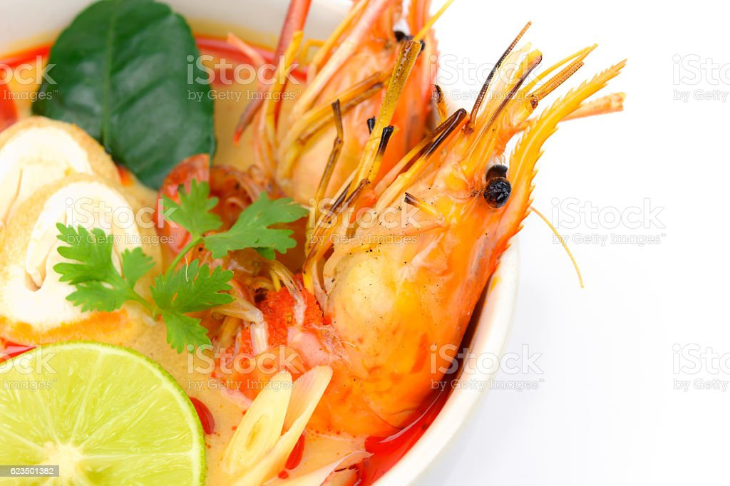 Closeup Tom Yum Soup stock photo