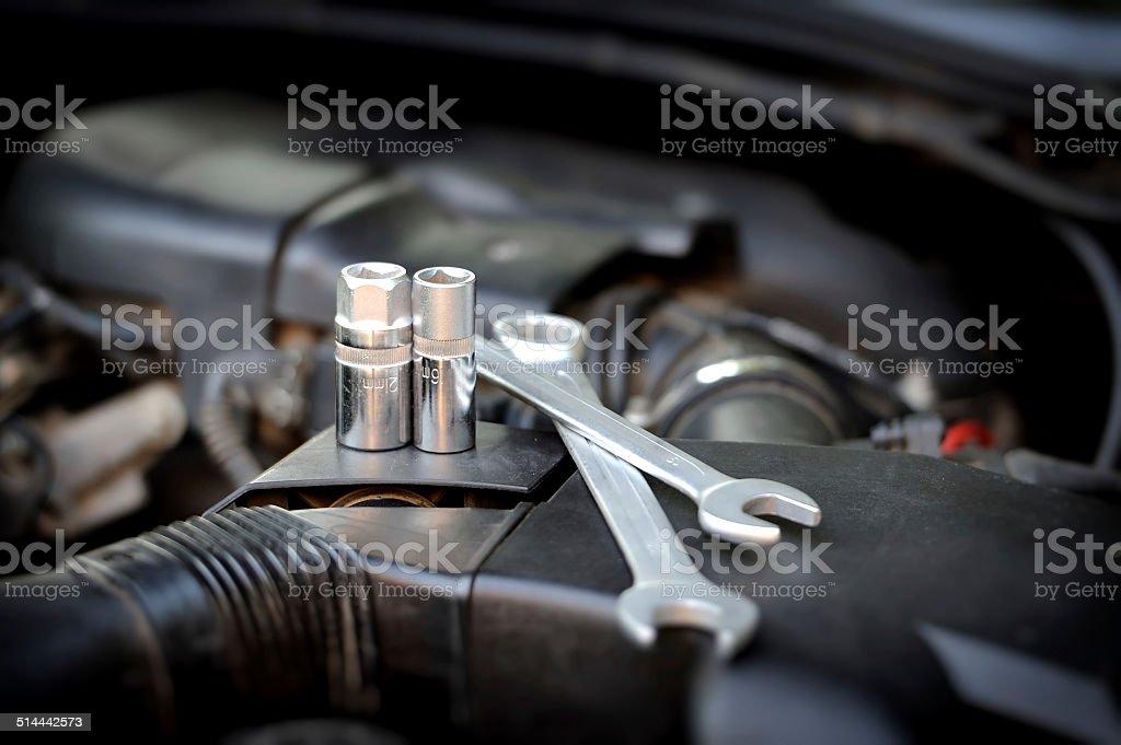 Close-up tools kit detail stock photo