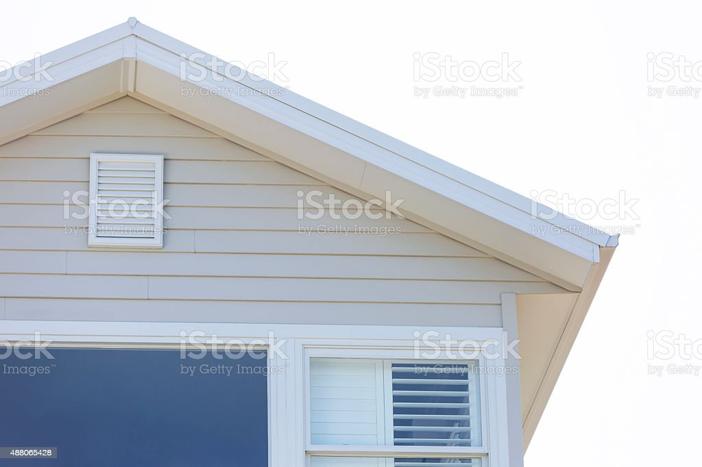 Closeup top part of house against white background, copy space stock photo