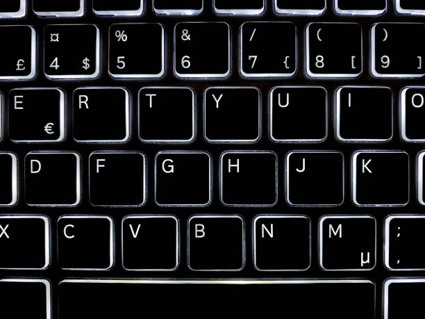 Closeup top view above black illuminated computer keyboard with white letters. stock photo