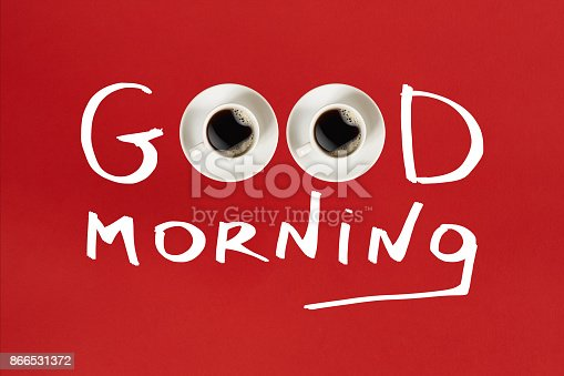 istock Close-up top view of cup of fresh hot coffee and good morning inscription 866531372