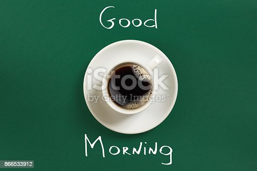istock Close-up top view of cup of fresh hot coffee and good morning inscription 866533912