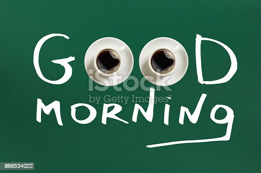 istock Close-up top view of cup of fresh hot coffee and good morning inscription 866534022