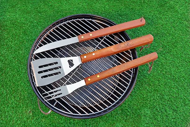 Close-up Top View Of Grill Tolls On The BBQ Appliance stock photo