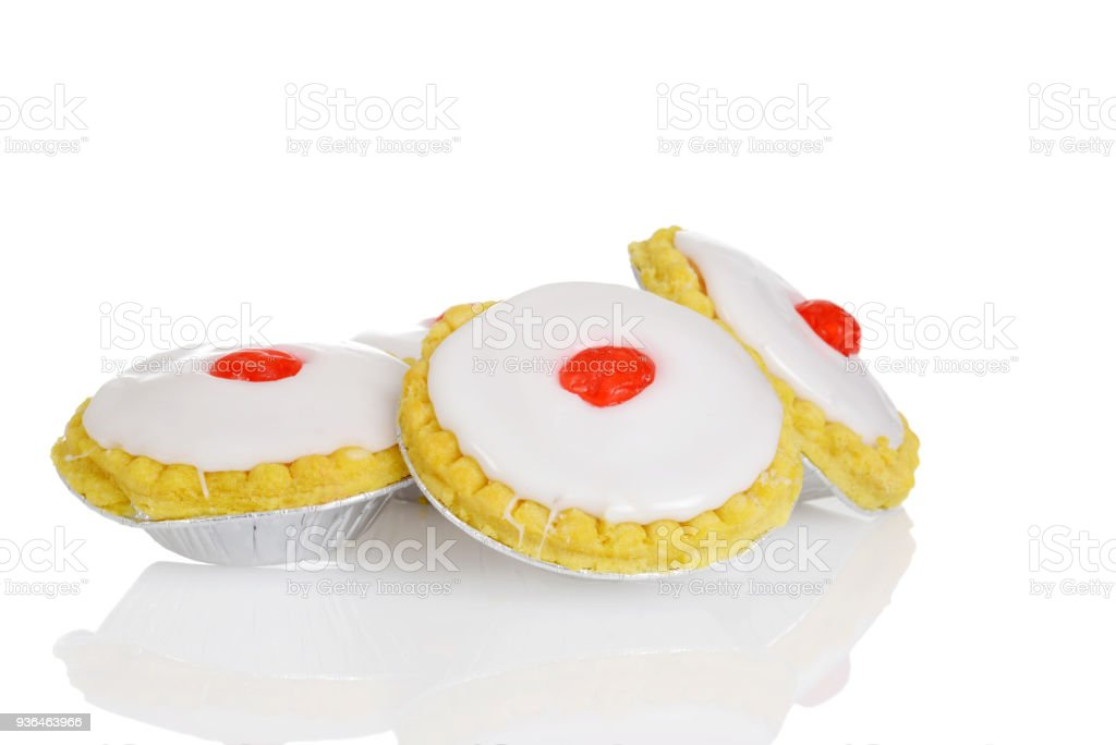 closeup traditional bakewell tarts stock photo