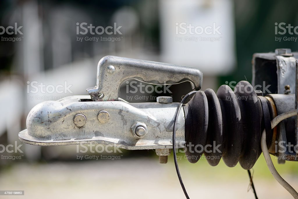 close-up trailer hook stock photo