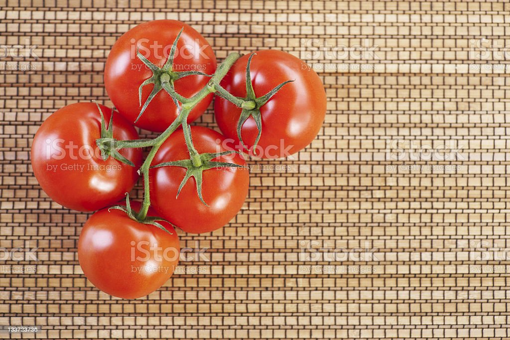 closeup twig five red tomatoes royalty-free stock photo