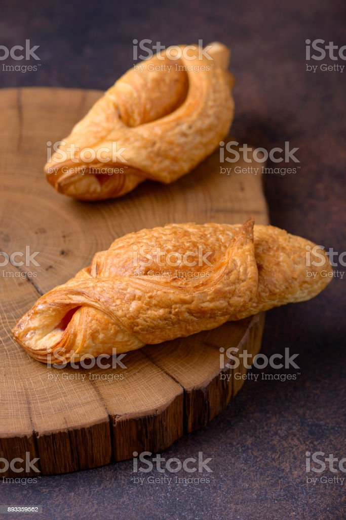Closeup two fresh croissant stock photo