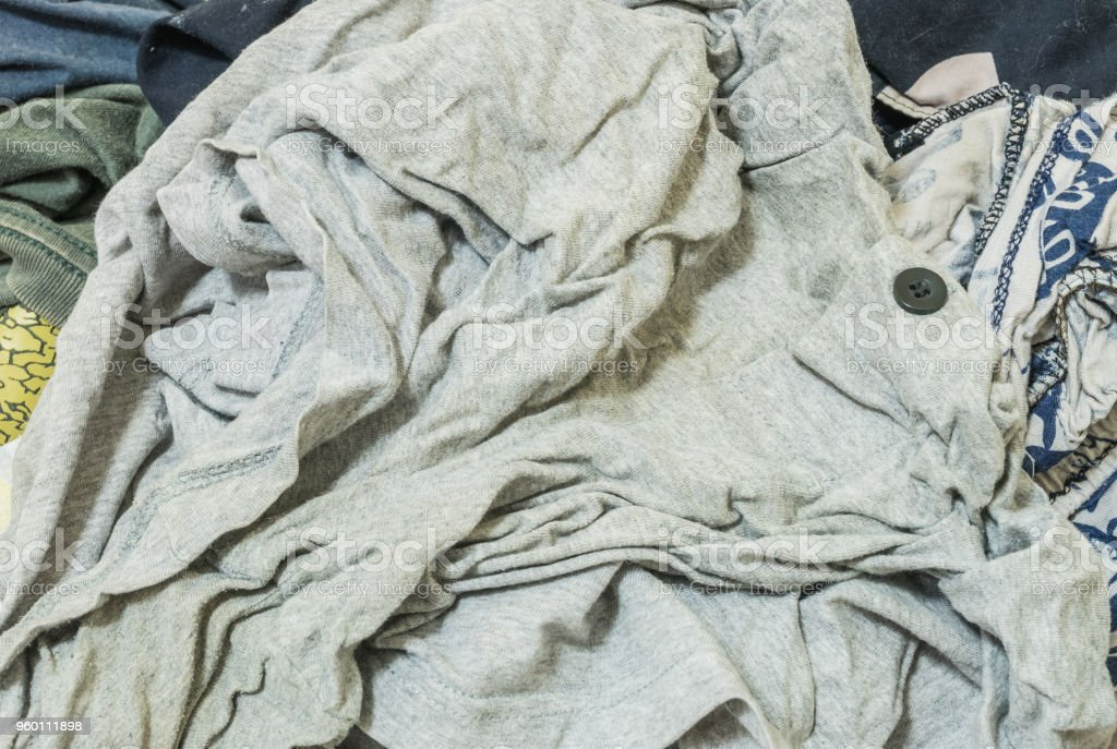 Closeup used clothes background stock photo