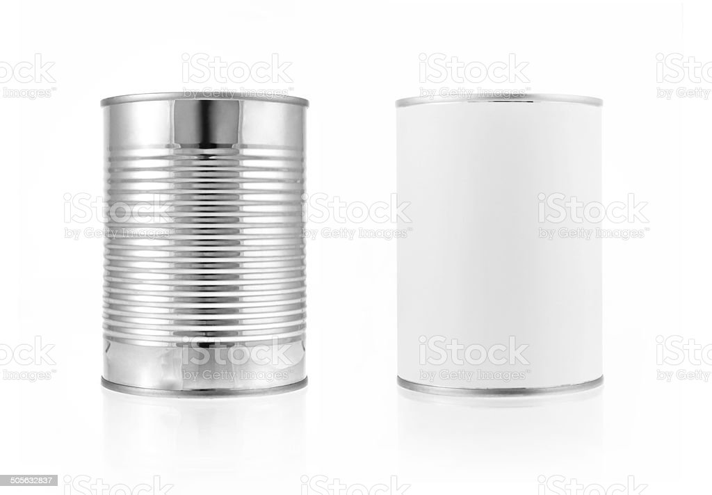 Close-up various metal and white tin can. Include clipping path stock photo
