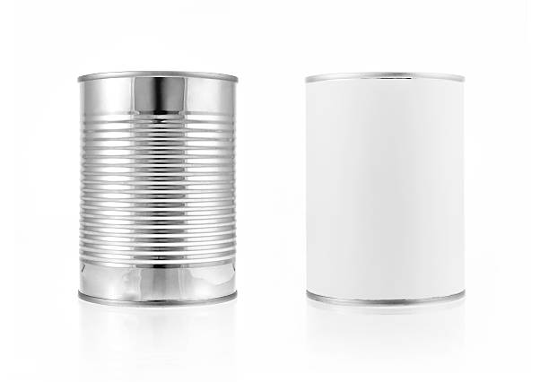 close-up various metal and white tin can. include clipping path - 錫 個照片及圖片檔