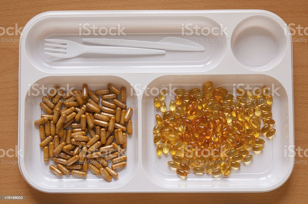 Close-up view, large number of Pills in a food tray royalty-free stock photo