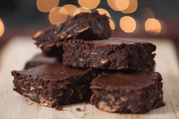 Close-up view of a batch of chocolate brownies stock photo