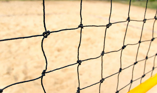 close-up view of a beach volleyball net stock photo