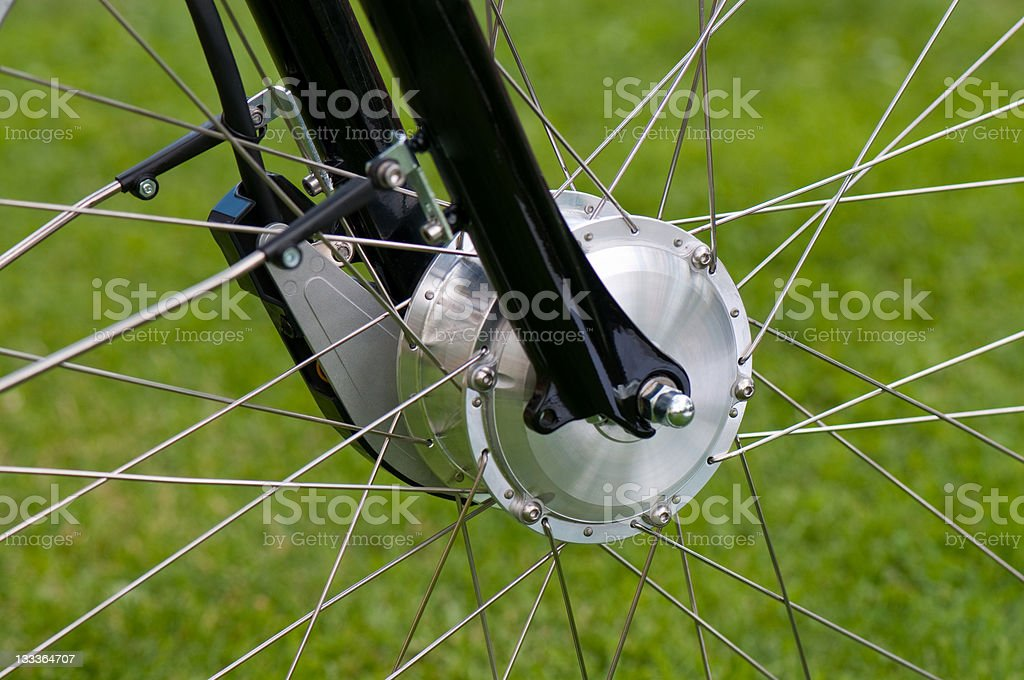 A close-up view of a bicycle motor wheel royalty-free stock photo