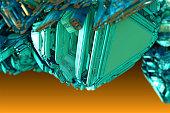 Close-up view of a blue-green triangular crystal. 3d fractal graphic, part of a huge fractal, calculated with Mandelbulb 3D program, JPEG Grafik
