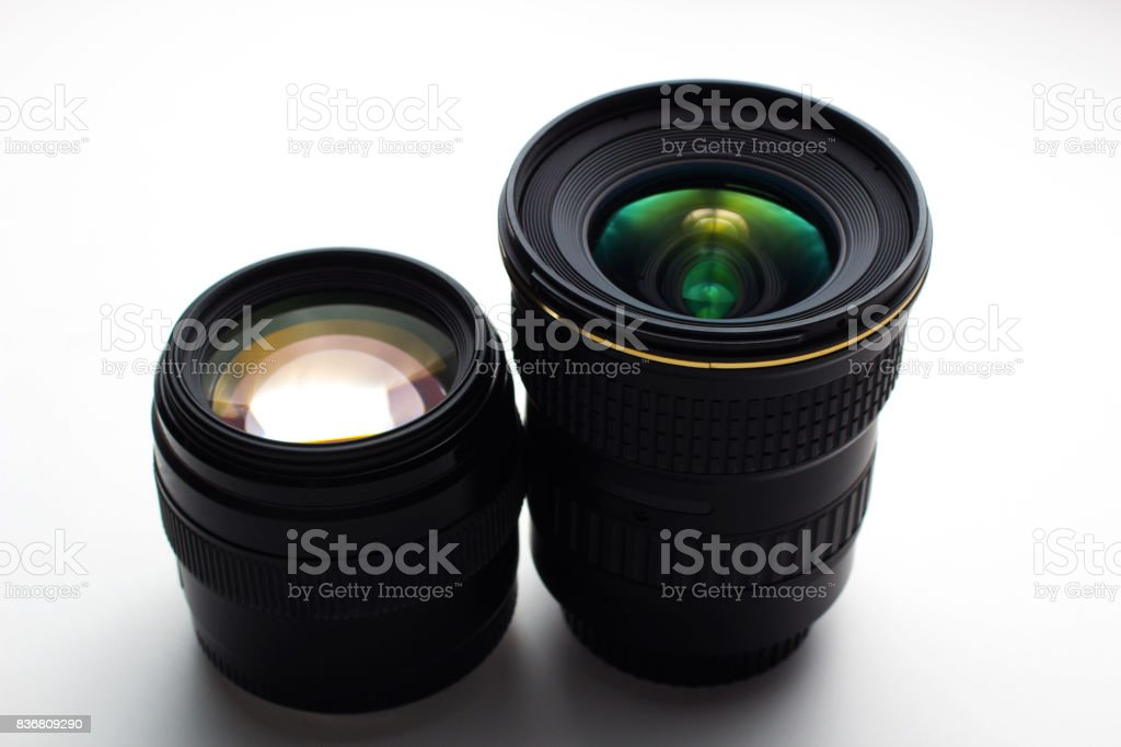 close-up view of a camera lenses on a white background royalty-free stock