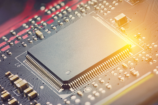Closeup View Of A Central Processing Unit Or Cpu On ...