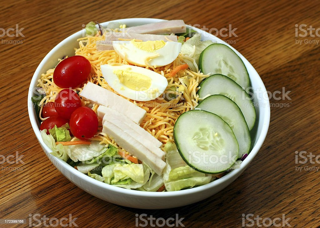 Close-up view of a chef's salad with healthy ingredients stock photo