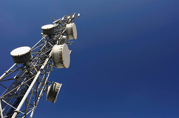 Close-up view of a communications tower Communication Tower. telecommunications equipment stock pictures, royalty-free photos & images