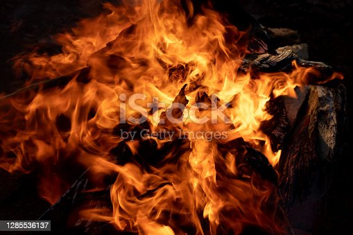 A Closeup View Of A Flaming, Hot Campfire, Roaring, Crackling, Blazing