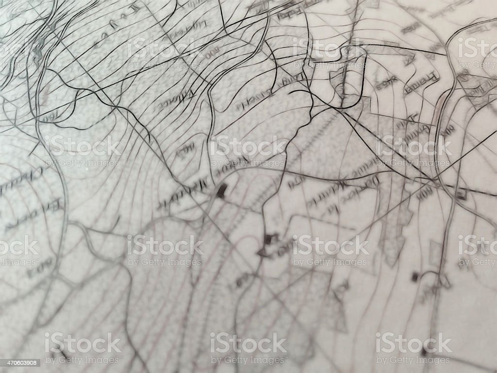 closeup view of a geographic map detail with a selective focus stock photo