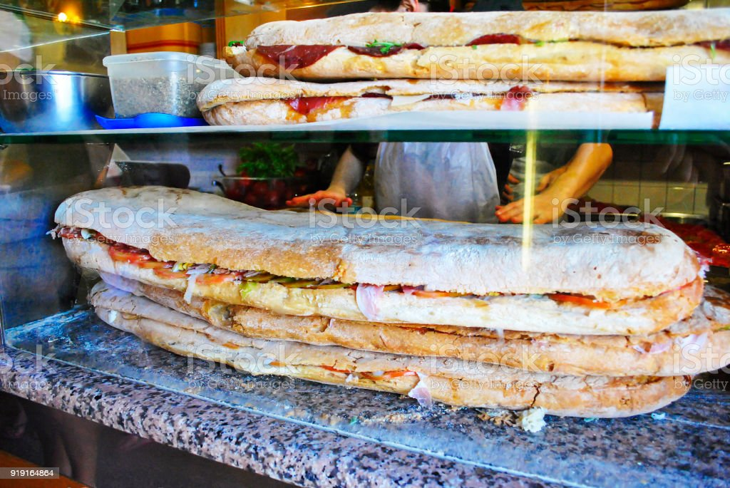 close-up view of a huge stuffed sandwich stock photo