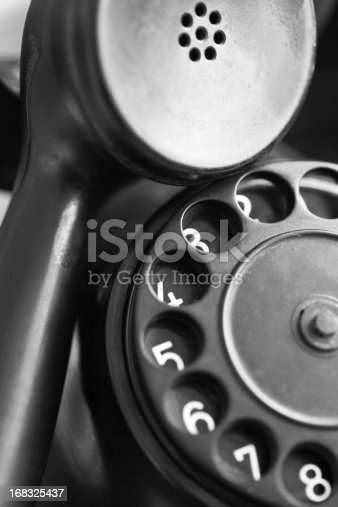 istock close-up view of a old telephone dial 168325437