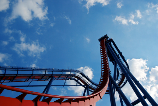Closeup view of a rollercoaster