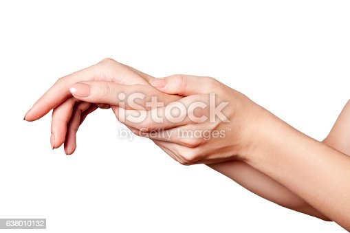 istock Closeup view of a young woman with pain on hand. 638010132