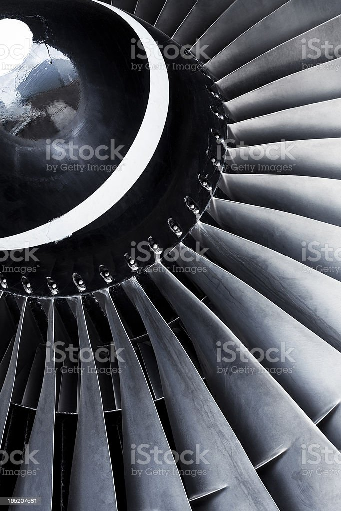 A close-up view of an aircraft jet engine turbine stock photo