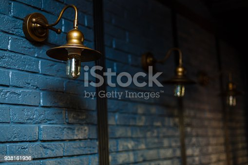 istock Close-up view of an antique lamp on a wall 938161936