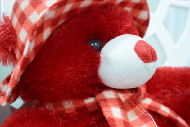 Closeup view of beautiful red colour teddy bear Closeup view of beautiful red colour teddy bear christmas teddy bear stock pictures, royalty-free photos & images